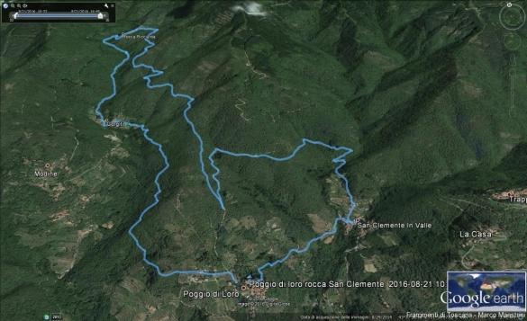 Traccia GPS del percorso trekking del Pratomagno